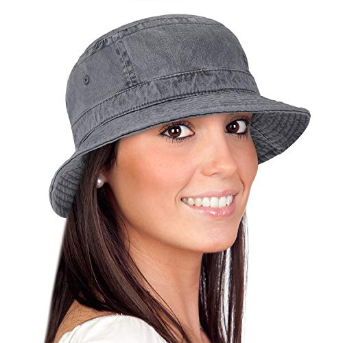 Solaris Washed Cotton Denim Bucket Hat Packable Summer Travel Outdoor Fishing Cap ()