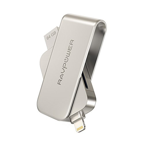 Lightning to SD Card Reader with Memory Stick, RAVPower 64GB iPhone Flash Drive USB 3.0 for iPad iPod iOS Device, External Storage Expansion