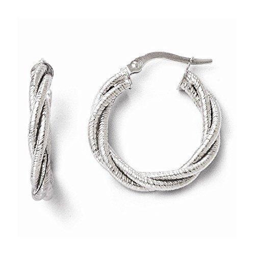 14k White Gold Twisted Triple Twist Hoop ()