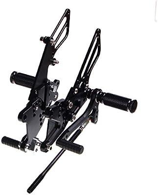 TARAZON Auminio CNC Moto Ajustables Reposapi/és Estriberas de Motocicleta para Kawasaki ZX10R ZX-10R Ninja 2006-2007 06 07 Nero