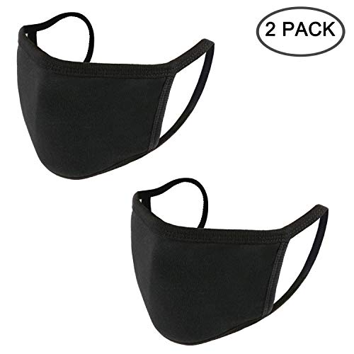 EVEREMARKET Anti-dust Black Mouth Mask, Unisex Cotton Face Mask Muffle Mask Anime Mask for Cycling Camping Travel Outdoors for Adult Men and Women, Pack of 2