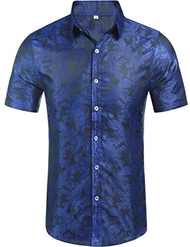 Daupanzees Mens Regular Fit Short Sleeve Shiny Satin Silk Like Dance Prom Dress Shirt Tops (Navy Blue L)