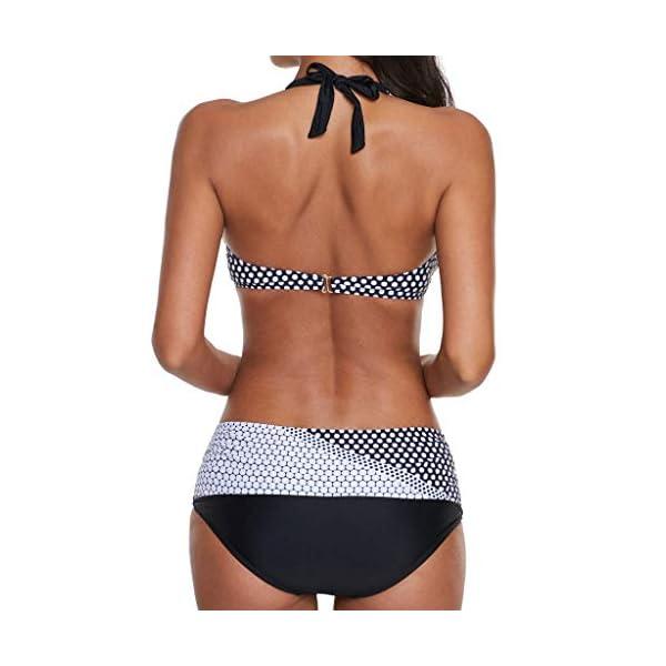 CheChury Costume da Bagno Donna Mare Due Pezzi Stampato a Pois Costumi da Bagno Push Up Imbottito Reggiseno Bikini…