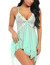 Women Lingerie Lace Babydoll V Neck Sleepwear Strap Chemise