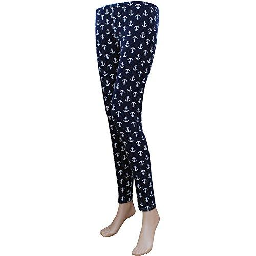 N.GIL Anchor Print NGIL Womens Leggings One Size Stretch (Womens Anchor)