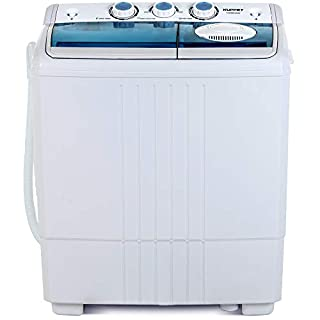 KUPPET Compact Twin Tub Portable Mini Washing Machine 21lbs Capacity, Washer(14.4lbs)&Spiner(6.6lbs)/Built-in Drain Pump/Semi-Automatic