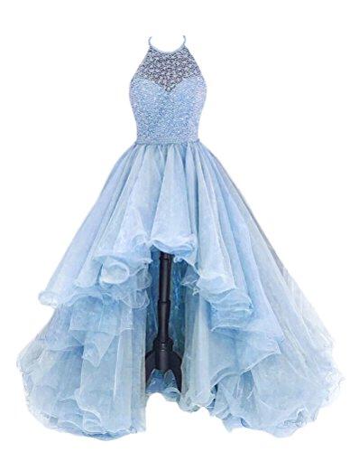 High Organza Beading TBGirl Champagne Women's Dresses Halter Low LightBlue Prom Tv5wv4Rq