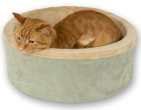 K & H Washable, Cozy Soft Thermo Kitty Heated Cat Bed - Large / Sage (Thermo Cat Heated Kitty)