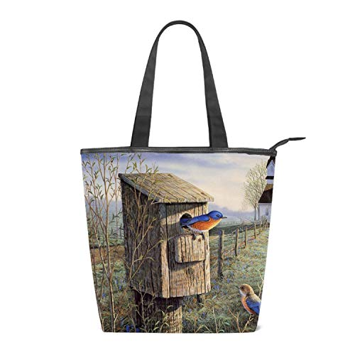 Women's Canvas Zipper Closure Handbag Autumn Birdhouse And Farm Handbags Shoulder Lunch Tote Bag with Large Capacity Best Gifts for Teen Girls