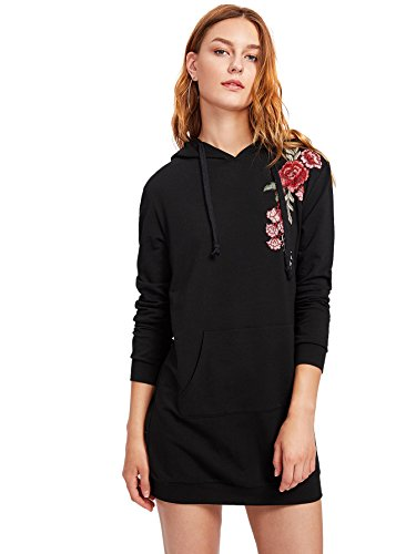 DIDK Women's Embroidered Rose Patch Hoodie Dress with Kangaroo Pocket Black XS