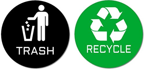 - Recycle & Trash Premium Quality Stickers (1 Trash + 1 Recycle Sticker) for Use on Trash Cans & Recycle Bins; 4