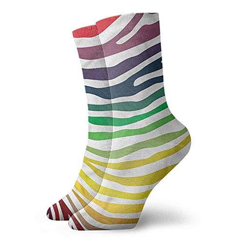(Men Fashion Socks Zebra Print,Stripes Rainbow Colors,socks women low cut no show)