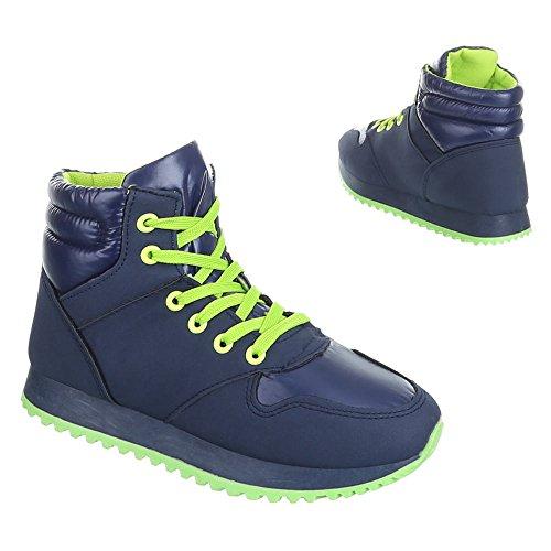 Ital-Design - Zapatillas de Material Sintético para mujer Verde - Grün Blau
