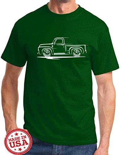 1953-56 Ford F100 F-100 Pickup Truck Redline Classic Outline Design Tshirt medium forest