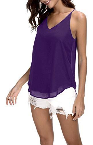 Women's V-Neck Chiffon Spaghetti Strap Cami Top (XX-Large, Purple)