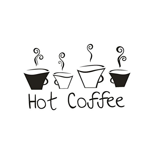 Beautiful Design Coffee Mugs Tea PVC Wall Decals for Cafe,Wall Stickers for Kitchen Restaurant Pub Decor (Black)