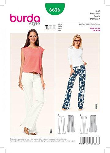 Burda Ladies Easy Sewing Pattern 6636 Bell Bottom Trouser Pants ...