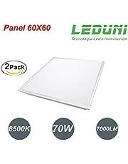 Panel Ultrafino Supuerslim LED Cuadrado 70W 7000LM Color Blanco Fría 6500K Angulo 180 IP20 OPAL Aluminio 595 * 595 * 25Hmm Borde Blanco 60x60 (2 Unidades)