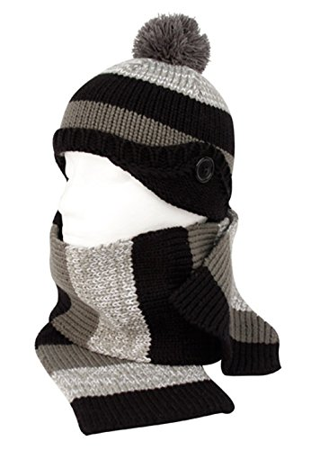 Angela & William Unisex childrens Winter Warm Cable Knit Scarf with complementing PomPom Slouchy Beanie Hat - Grey light Grey and (Burgundy Felt Bonnet)