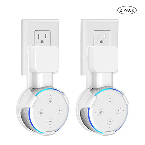 Outlet Wall Mount Hanger Holder Stand Compatible with 3rd Generation&AI Plug in Kitchens, Bathroom and Bedroom, A Space-Saving Solution for Your Home Speakers,Built-in Cable Management- White 2 Pack