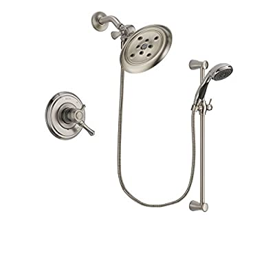 Delta Cassidy Stainless Steel Finish Dual Control Shower Faucet System Package with Large Rain Showerhead and Handheld Shower Spray with Slide Bar Includes Rough-in Valve DSP1614V