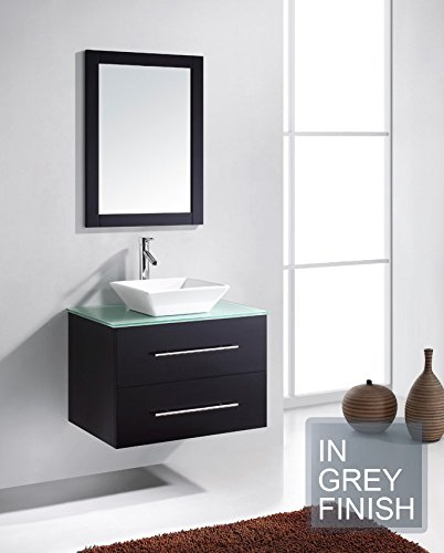 Virtu USA MS-560-G-GR-001 Marsala 29'' single Bathroom Vanity with Aqua Tempered Glass Top and Square Sink with Brushed Nickel Faucet and Mirror, Grey