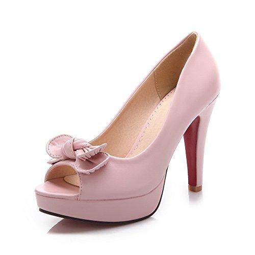 BalaMasa Girls Peep-Toe High-Heels Metal Bowknot Pull-On Pink Rubber Pumps-Shoes - 7 B(M) US (Toe Peep Pumps Suede Platform)