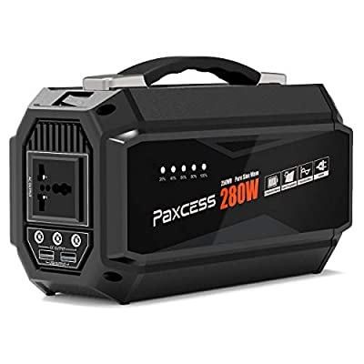 PAXCESS 280W Lithium Portable Power Station 250Wh 67500mAh CPAP Battery Backup Camping Generator with 110V AC Outlet,3 DC 12V,2 USB Port Power Pack for Camping/CPAP Machine/Emergency