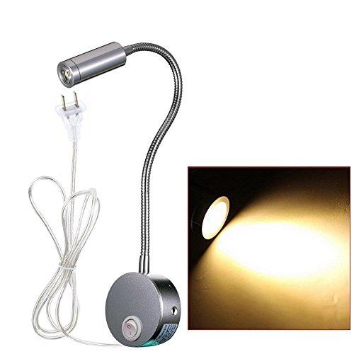 WannaBi Plug Wired Flexible 3 Watts 3W Gooseneck Led Wall Light Sconce Lamp Lighting for Bedroom Reading Bathroom with - Lounge Wall Light