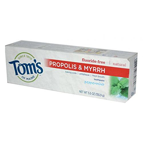 Tom's of Maine Antiplaque Toothpaste with Propolis and Myrrh, Peppermint Baking Soda, 5.5-ounce (Pack of 6)
