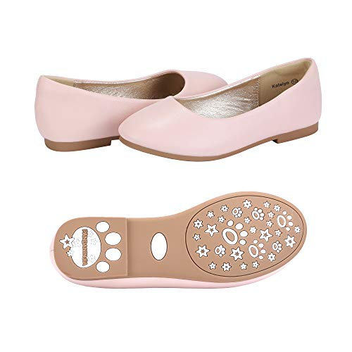 PANDANINJIA Toddler/Little Kids Katelyn Wedding Party Pink Ballet Flower Mary Jane Girls Flats Dress Shoes
