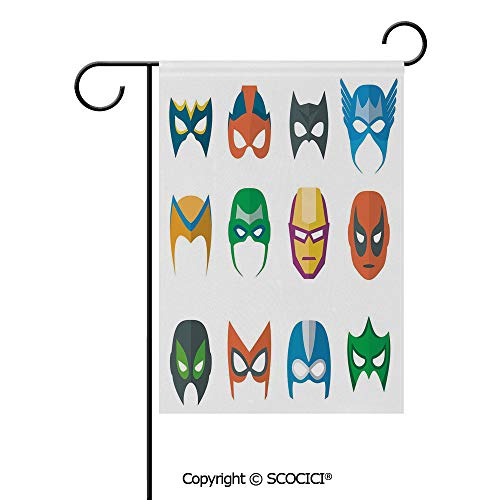 SCOCICI Double Sided Washable Customized Unique 28x40(in) Garden Flag Hero Mask Female Male Costume Power Justice People Fashion Icons Kids Display,Multicolor,Flag Pole NOT Included ()