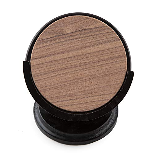 Thirstystone TS6-H13 Sandstone Wood Coaster and Holder, 4 inch round, Cinnabar w/Pedestal Hldr