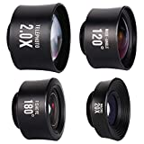 iPhone Lens, Phone Camera Lens Kit - 2.0X Zoom Telephoto Lens, 20X Macro Lens, 120°Wide Angle Lens, 180°Fisheye Lens, 4 in 1 Clip On Cell Phone Camera Lens for iPhone X/8/7/6/5 & Samsung & Smartphones