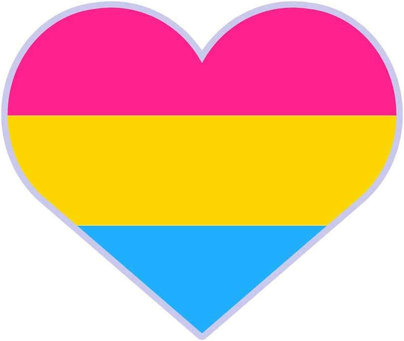Dark Spark Decals Pansexual LGBT Pride Heart - 4 Inch Full Color Vinyl Decal for Indoor or Outdoor use, Cars, Laptops, Décor, Windows, and More