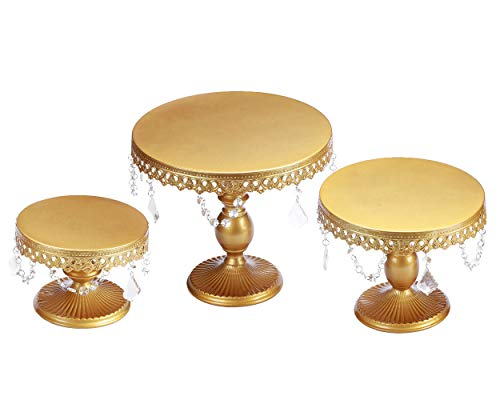 VILAVITA 3-Set Cake Stands Round Cupcake Stands Dessert Display Stand with Pendants and Beads, - Cake Hanging
