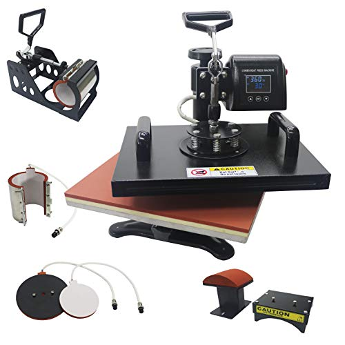 """13"""" x 18"""" Heat Press Machine 5 in 1 Combo for T-Shirt Hat Cap Mug Plate Color LED 360-degree Rotation Industry Quality Digital Heat Transfer Sublimation Machine New Black (5 in 1)"""
