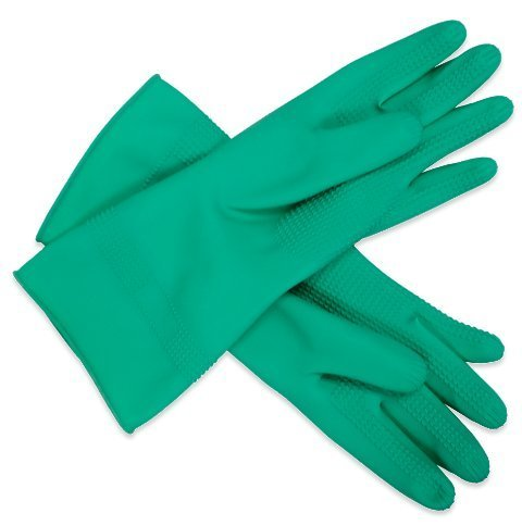 Application(donning) rubber gloves - ridged, S, Green Gloves