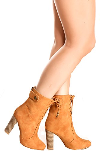 Lolli Couture Forever Link Suede Material Side Zipper Buckle Strap Fur Trim Accent Chunky High Heel Booties Camel-grapefruit-4 Wyj0KNeT