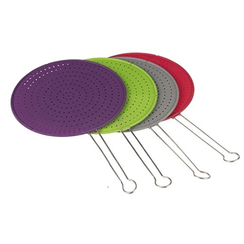 Silicone Splatter Guard Screen Large 30cm - Stainless Steel Long Handle - High Quality (Red) Lifetime Cooking