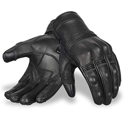 Motorradhandschuhe | Oro Biker Premium Leder Motorrad Handschuhe Touchscreen Knöchelschutz Vollfinger Racing…