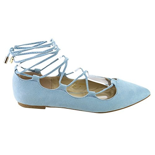 Flats Ballet Sexy - Beston DB52 Women's Strappy Lace Up Cut Out Gladiator Ballet Flats, Color:BLUE, Size:10