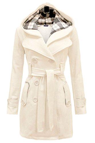 Jacket Coat Duffle - Noroze Womens Check Hood Plus Size Duffle Coat (14 (UK 18), Cream)