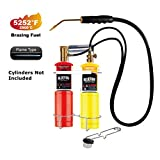 MR.TORCH Oxygen MAPP/Propane Cutting Torch kit, Free Accessory of Flint Lighter and Cylinder Holder Rack, Duel Fuel by Oxygen and MAPP PRO/Propane, Welding Brazing Soldering,Gas Cylinders Not Included
