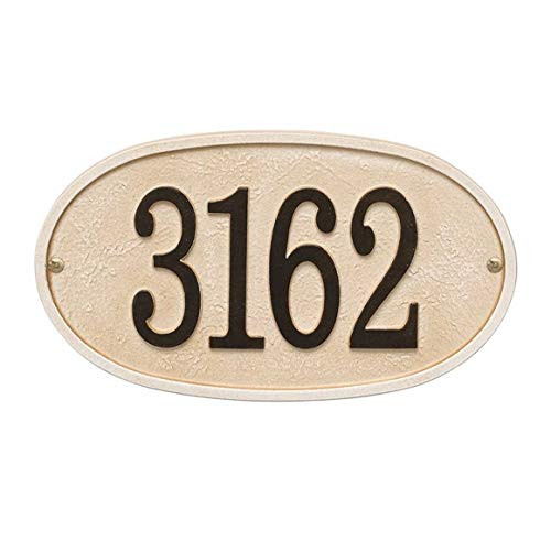 Comfort House Metal Address Plaque - Sand Color Oval House Number Sign P3244