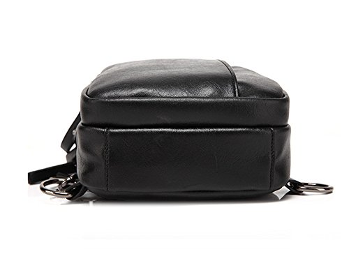 Bolsos de hombres Xinmaoyuan Pu hombres de negocios, los pechos al hombro sección vertical de color puro bolsa impermeable, negro Negro