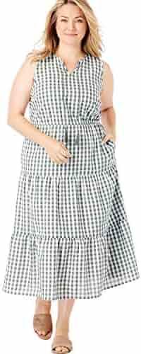 28ce0dd6 Woman Within Women's Plus Size Sleeveless Tiered Seersucker Tassel-Tie Dress