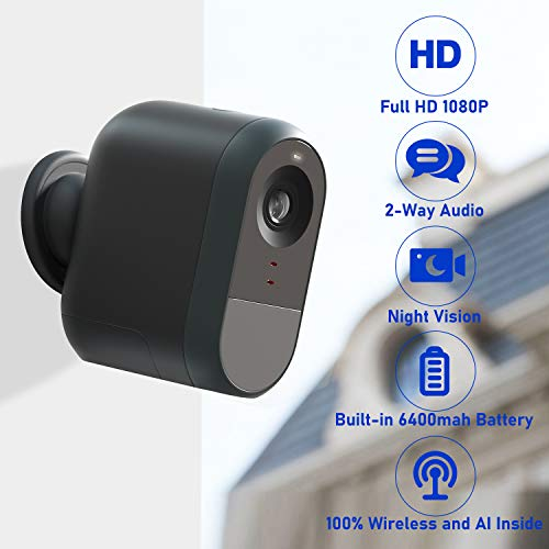 LOYLOV Wireless Home Security Camera, WiFi IP Camera System with 6000 mAh Rechargeable Battery, Cloud Storage Included, 140° View, Night Vision, HD Video, 2-Way Audio, Wall Mount, Indoor/Outdoor Use