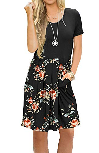 AUSELILY Women's Short Sleeve Pleated Loose Swing Casual Dress with Pockets Knee Length (L, Black Rose Black) ()