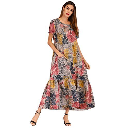 Women Vintage Retro Short Sleeve Print Pockets Party Dress Prom Swing DressGirls' Fashion by Youngh Khaki by Youngh Dress (Image #6)